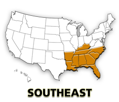 Southeast US map